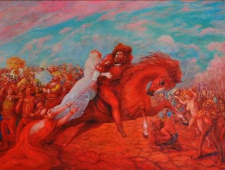 SASSU, IL SACCO DI ROMA, 1987-90, olio su tela, 155 x 250 cm