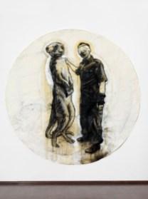 Stefano Ricci, Autiritratto con lemure,tecnica mista su carta, diametro cm 180dalla mostra Dice la volpe al corvo 2013 Courtesy Galleria Il Vicolo