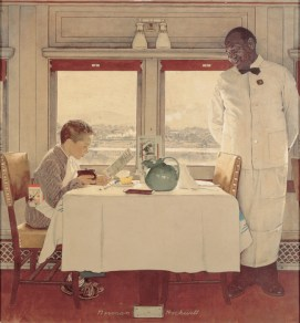 Norman Rockwell Boy in a Dining Car (Ragazzo in carrozza ristorante), 1946 Olio su tela, 96,5 x 91,5 cm Cover illustration for The Saturday Evening Post, December 7, 1946 Collection of The Norman Rockwell Museum at Stockbridge, NRM.1988.2 ©1946 SEPS: Licensed by Curtis Licensing, Indianapolis, IN, USA. All rights reserved. www.curtislicensing.com Norman Rockwell Museum Collections