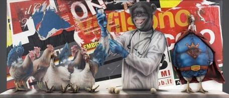 Federico Unia, 960 polli&galline D.O.Pati a Terra, 2014, tecnica mista, 90x180x21 cm (in collaborazione con Emiliano Rubinacci)