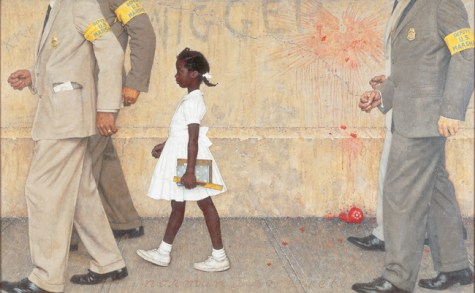 Norman Rockwell The Problem We All Live With (Il problema con cui tutti noi conviviamo), 1964 Olio su tela, 91,4 x 147,3 cm Story illustration for Look, January 14, 1964 Collection of The Norman Rockwell Museum at Stockbridge, NRM.1975.1 ©Norman Rockwell Family Agency. All rights reserved. Norman Rockwell Museum Collections