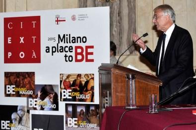 Immagine della conferenza stampa di presentazione di Expo in Città, Milano, 27 ottobre 2014