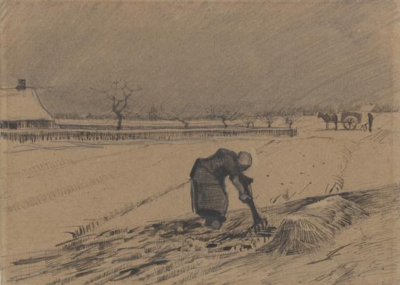 Vincent van Gogh, Contadina che spala letame in un campo innevato, 1883, matita, penna a inchiostro nero-bruno su carta a grana fine, 20.7x28.7, Kröller-Müller Museum © Kröller-Müller Museum