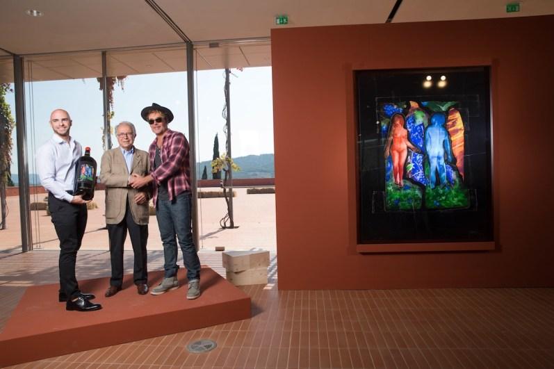 Da sinistra John Byrne, Paolo Panerai, David LaChapelle, 10 Vendemmie, Rocca di Frassinello, Gavorrano (GR) © Massimo Sestini