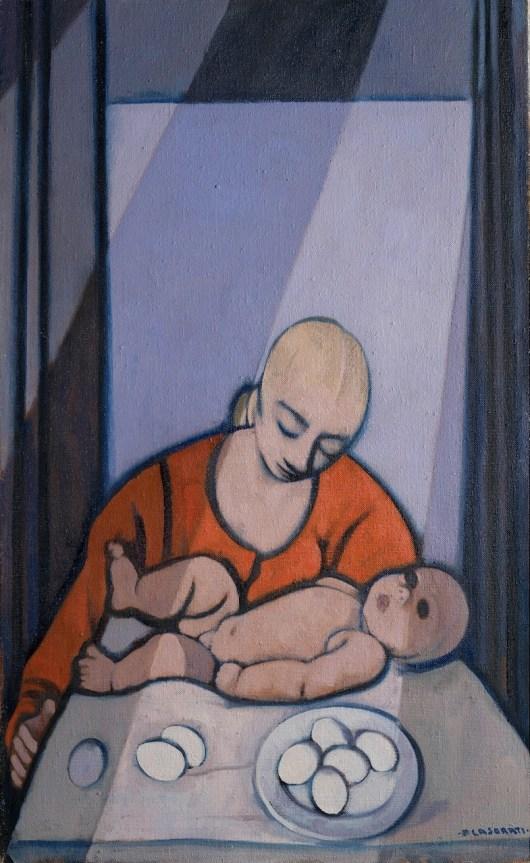 Felice Casorati, Maternità con le uova, 1958, olio su tela, 90.5x55.5 cm, deposito Collezione privata, Mart, Rovereto