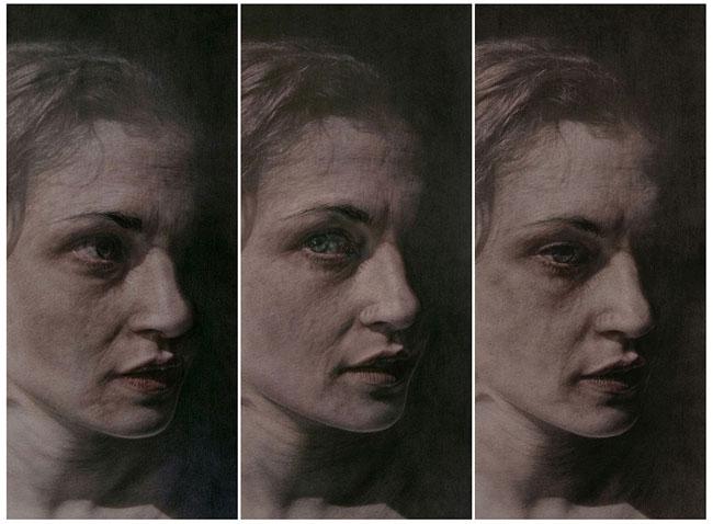 Vania Comoretti, BACKLIGHTED, 2014, acquerello, china e pastello su carta, singolo disegno cm 64 x 29, trittico cm 64 x 87