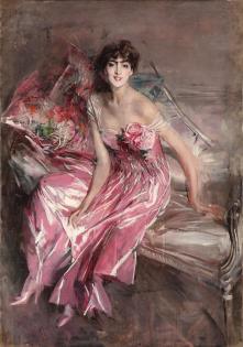 Giovanni Boldini, La signora in rosa (Ritratto di Olivia de Subercaseaux Concha), 1916, olio su tela, 163x113 cm (193x148 cm)