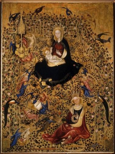 Michelino da Besozzo (attribuito), Madonna del Roseto (Madonna col Bambino e S. Caterina), tempera su tavola trasportata su tela, 130x95x2.4 cm, Civici Musei d'Arte - Museo di Castelvecchio, Verona#528FBD