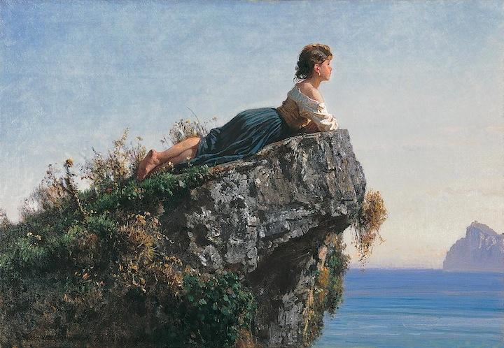 Filippo Palizzi, Fanciulla sulla roccia a Sorrento, 1871, olio su tela, cm 54.8x79.5, Fondazione Internazionale Premio E. Balzan