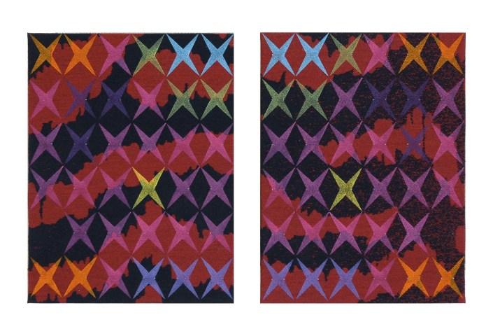 Vincenzo Marsiglia, Mimetic Star, 2009-2010, acrilico su tessuto, 24x18 cm cad. dittico