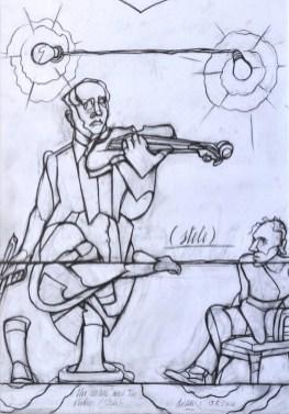 Valerio Adami, Uomo con violino, 2010, disegno carta, 48x36 cm Courtesy Galleria Forni, Bologna