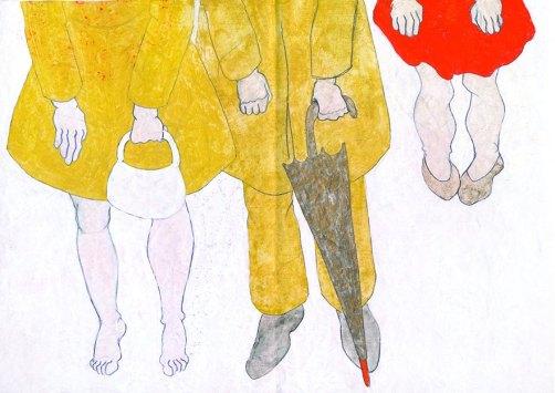 Tiziana Fusari, dalla serie QUADERNI, tecnica mista su carta modello gessata cm 24x37