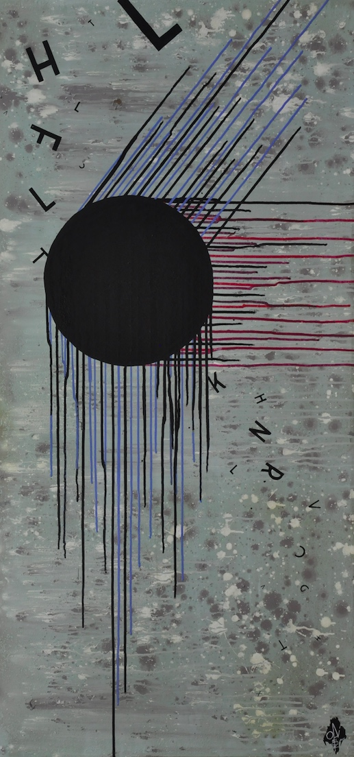 Opiemme, Drain, 2015, tempera su tavola, 135x65 cm