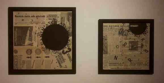 Opiemme, Vortex #2 e Vortex #3, 2014, acrilico su quotidiano, 50x50 e 40x40, in mostra alla da BI-BOx Art Space, Biella