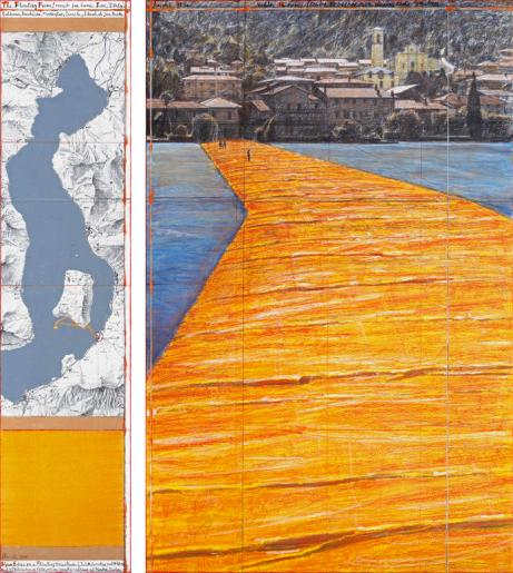"""Christo The Floating Piers (Project for Lake Iseo, Italy) Drawing 2014 65 x 15"""" and 65 x 42"""" (165 x 38 cm and 165 x 106.6 cm) Pencil, charcoal, pastel, wax crayon, enamel paint, cut-out photographs by Wolfgang Volz, topographic map, fabric sample and tape Photo: André Grossmann © 2014 Christo"""