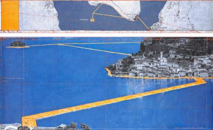 """Christo The Floating Piers (Project for Lake Iseo, Italy) Drawing 2014 in two parts 15 x 96"""" and 42 x 96"""" (38 x 244 cm and 106.6 x 244 cm) Pencil, charcoal, pastel, wax crayon, enamel paint, hand-drawn map, cut-out photographs by Wolfgang Volz, fabric sample and tape Photo: André Grossmann © 2014 Christo"""