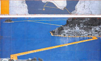 "Christo The Floating Piers (Project for Lake Iseo, Italy) Drawing 2014 in two parts 15 x 96"" and 42 x 96"" (38 x 244 cm and 106.6 x 244 cm) Pencil, charcoal, pastel, wax crayon, enamel paint, hand-drawn map, cut-out photographs by Wolfgang Volz, fabric sample and tape Photo: André Grossmann © 2014 Christo"