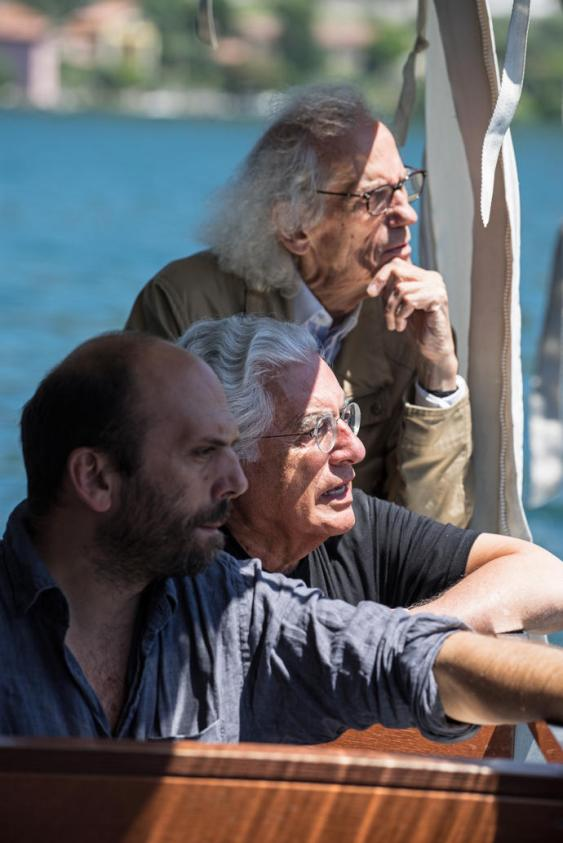 Christo (right) with Project Director Germano Celant (center) and Vladimir Yavachev (left) July 2014 Photo: Wolfgang Volz © 2014 Christo