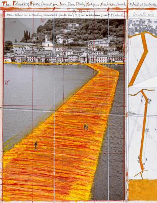 """Christo The Floating Piers (Project for Lake Iseo, Italy) Collage 2014 22 x 17"""" (55.9 x 43.2 cm) Pencil, wax crayon, enamel paint, photograph by Wolfgang Volz, technical maps, fabric sample and tape Photo: André Grossmann © 2014 Christo"""