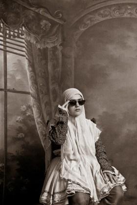 Shadi Ghadirian, Qajar #9 1998 Digital Print 90 x 60 cm. (35,4 x 23,6 inches) Edition of 10 40 x 30 cm. (15,7 x 11,8 inches) Edition of 15 Courtesy Officine dell'Immagine, Shadi Ghadirian