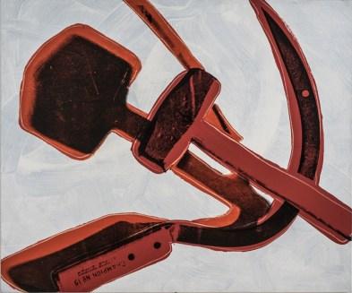 Andy Warhol, Hammer and Sickle (Falce e Martello), 1977, pittura a polimeri sintetici e serigrafia su tela, 182.9x218.4 cm, Galleria Nazionale d'Arte Moderna, Roma
