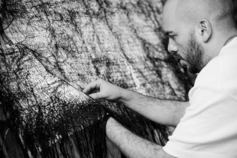 Ruben Montini, Ricamare una musica già tanto ricamata, 2015, ricamo su carta, dimensioni variabili, Courtesy l'artista e Galleria Massimodeluca ph credit Yuma Martellanz