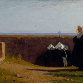 Vincenzo Cabianca, Le monachine, 1861, olio su tela, 36x99 cm, Viareggio, Istituto Matteucci