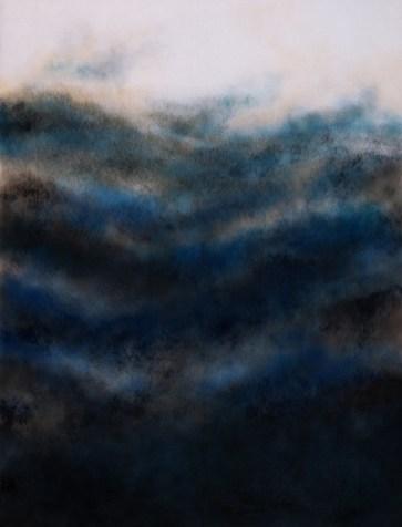 Corinna Gosmaro, Scape, 2015, pittura a olio e spray su filtro di poliestere