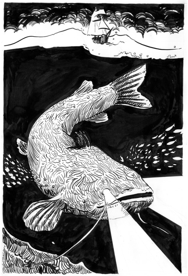 Marino Neri Leviathan, 2015, china su carta, cm 42x29,7