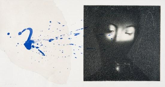 Omar Galliani, In blu vestita, 1995, litografia in pietra, inchiostro, 45x70 cm © Luca Trascinelli