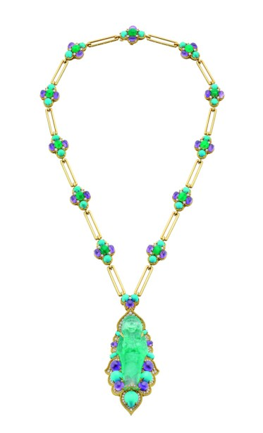 Bulgari, Sautoir in gold with emeralds, amethysts, tourquoise and diamonds, 1968