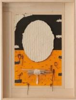 Roberto Floreani, Ricordare, 2015 tecnica mista su carta a mano con tessuto a immersione, in cornice di betulla sbiancata, cm 52x39