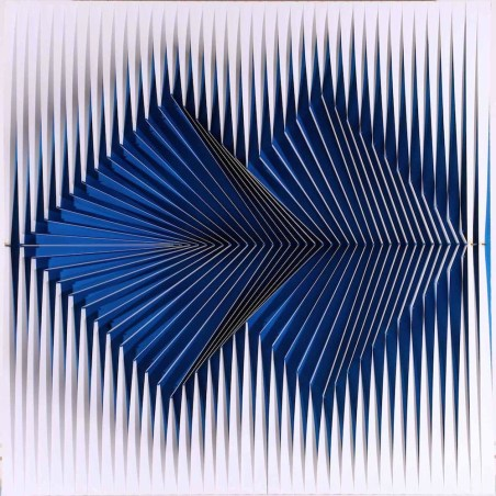 Alberto Biasi, Politipo, 1969, rilievo in PVC su tavola, 60x60 cm