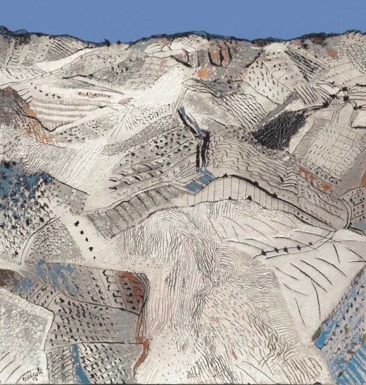 Tullio Pericoli, Prima di notte, 2012, olio e matite su affresco intelato, 60x60 cm