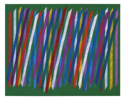 "Piero Dorazio, ""Telltale verde"" I, 1987, cm 95x120, olio su tela Courtesy Lorenzelli Arte, Milano"