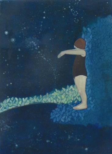 Elisa Bertaglia, Bluebirds #2, 2015, olio e pastelli su carta, 21x15 cm