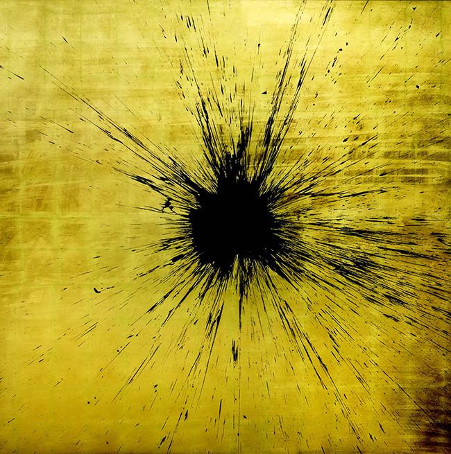 Julian T, Impact Gold, Acrilico su foglia d'oro, cm 200x200, cm 2015