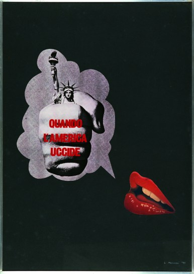 Lucia Marcucci, Quando l'America uccide, 1970, collage su cartoncino, cm 70x50