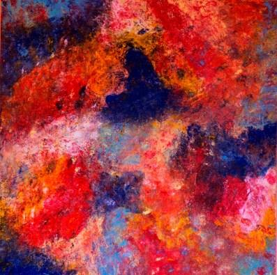 Marina Berra, Born to be alive, 2016, tecnica mista su tela, 80x80 cm