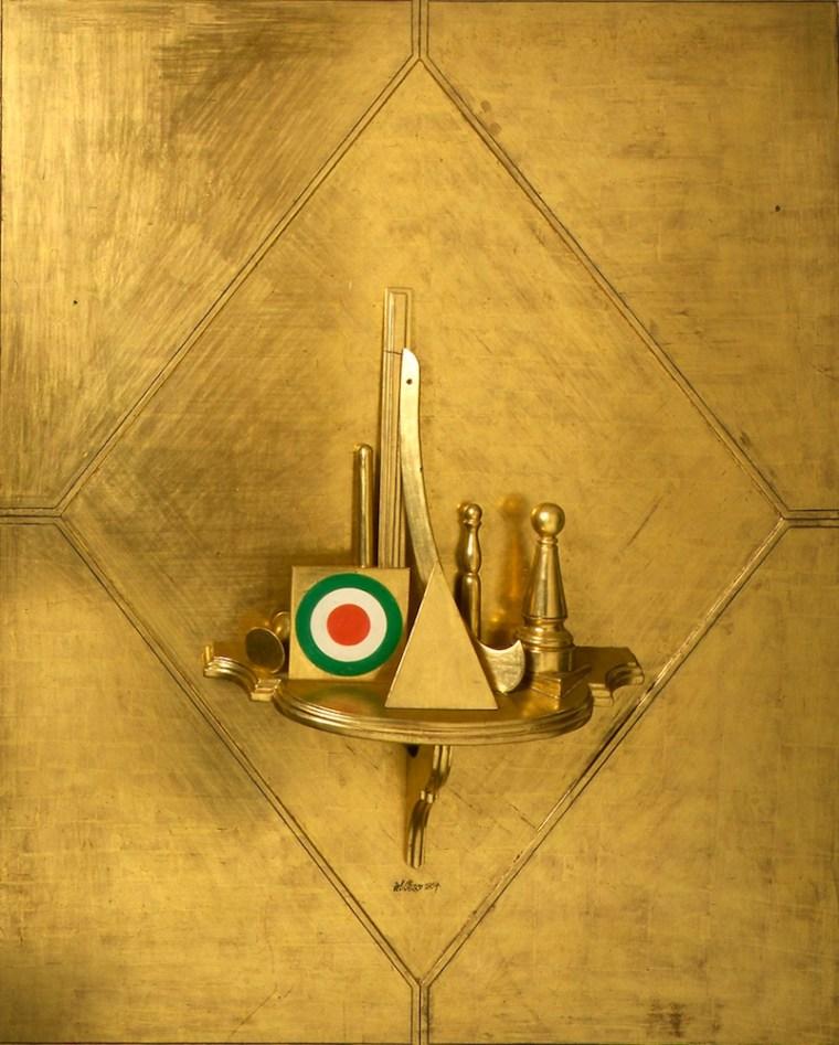Lucio Del Pezzo, Grande quadro d'oro, 1964, tecnica mista su legno, 160x130 cm