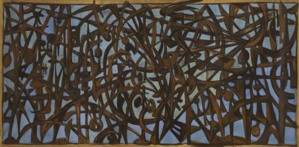 Mirko Bozzetto cancello delle Fosse Ardeatine, 1949 Tempera su carta intelata, 150 x 300 cm Fondazione Solomon R. Guggenheim, Venezia Donazione, Vera e Raphael Zariski. © Archivio Mirko