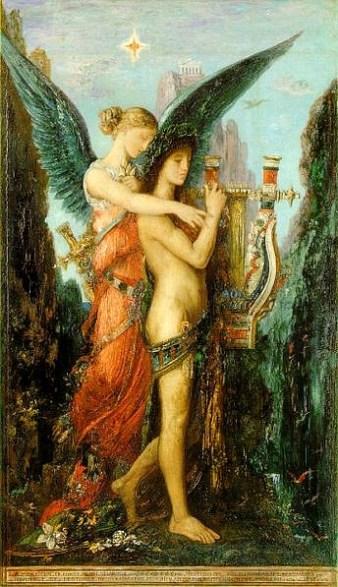 Gustave Moreau, Esiodo e la Musa, 1891, olio su tavola, 59x34.5 cm, Parigi, Musée d'Orsay © RMN / Hervé Lewandowski / RMN - Réunion des Musées Nationaux / distr. Alinari