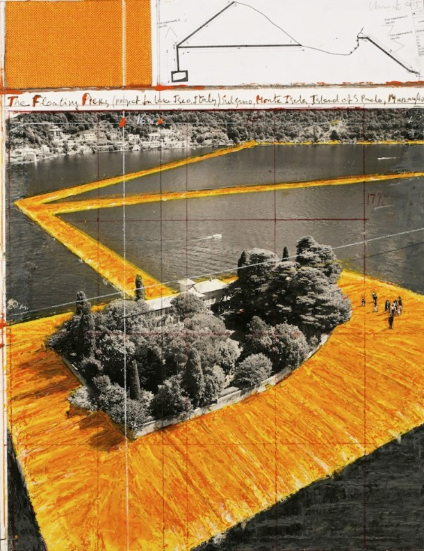 Christo, The Floating Piers (Project for Lake Iseo, Italy), Collage, 2015, pencil, wax crayon, enamel paint, photograph by Wolfgang Volz, technicsl data and fabric sample, 55.9x43.2 cm Photo André Grossmann © 2015 Christo