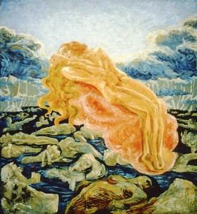 Umberto Boccioni, Il sogno - Paolo e Francesca, 1908-1909, olio su tela, 140x130 cm Collezione privata