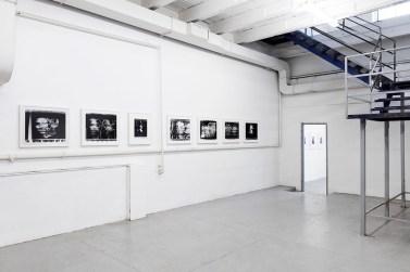 Paolo Gioli, Installation view at Peep-Hole, 2016 Volti attraverso (Faces Across), 1987-2002, photo finish, black and white print Photo ©2016 Andrea Rossetti