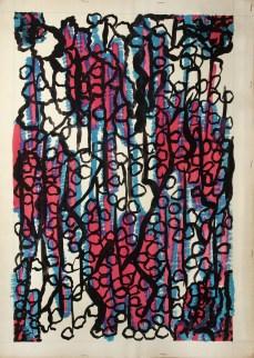 Fausto Melotti, Progetto grafico di tessuto per la X Triennale di Milano, 1954 circa, tempera su carta. Bologna, Fondazione Massimo e Sonia Cirulli