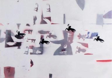 Alighiero Boetti, Rane, 1986, mista su cartoncino, cm 70 x 100. Courtesy Engema Arte