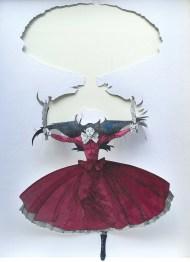 Vanni Cuoghi, Intagliatrice rossa, 2016, acquerello e china su carta, cm. 30x21