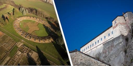 Veduta dell'Area Archeologica di Libarna e del Forte di Gavi (particolare della locandina)