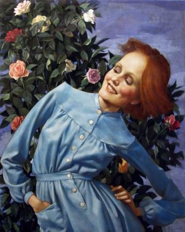 John Currin, Bent Lady, 2003, olio su tela, 121.9x96.5 cm Courtesy Lindon Gallery ©John Currin Image courtesy Gagosian Gallery and Sadie Coles HQ